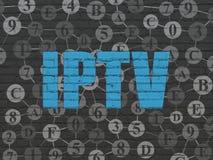 网发展概念:在墙壁背景的IPTV 免版税库存照片