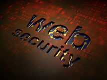 网发展概念:在数字式屏幕背景的网安全 免版税库存图片