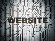 网发展概念:有网站的电路板 免版税库存图片