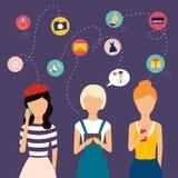 网和信息图表的社会网络和配合概念 库存图片