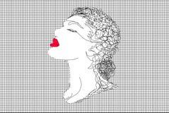 滤网和妇女的面孔 图库摄影