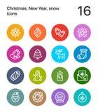 网和流动设计组装的3五颜六色的圣诞快乐和新年快乐象 免版税库存图片