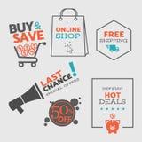 网和流动购物的集合2平的设计销售象和徽章-导航eps8 免版税图库摄影
