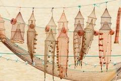 网和鱼陷井在Nazare (葡萄牙) 库存图片