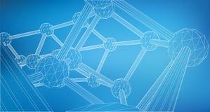 滤网多角形背景 线和小点的范围 线的三角被连接到点 分子的格子 的treadled 向量例证
