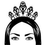 网女王/王后和冠商标 向量例证