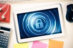 网安全和技术概念与片剂个人计算机在木选项 免版税库存照片