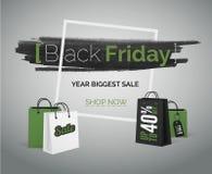 网或折扣广告的黑星期五销售绿色传染媒介横幅 库存照片