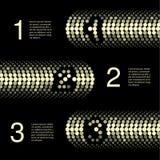网模板- 3步,选择,横幅-金黄设计 皇族释放例证