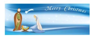 网横幅与圣洁家庭-耶稣-玛丽-约瑟夫的诞生场面-发短信给圣诞快乐-在典雅的蓝色背景 向量例证