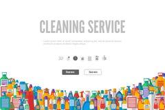 网横幅或礼品券模板清洁服务的 库存照片
