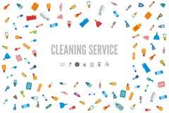 网横幅或礼品券模板清洁服务的 图库摄影
