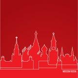 网横幅的俄罗斯莫斯科概念 与最伟大的地标的一条线构成 在红色背景的白色线性象 向量例证