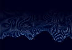 网横幅的蓝色抽象soundwave 3D微粒发光的音乐波浪  r 向量例证
