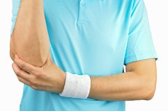 网球员以手肘伤害 库存图片