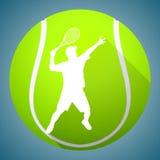 网球员剪影 免版税图库摄影