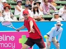 网球员多米尼克Thiem为澳网做准备在Kooyong经典陈列比赛 库存图片