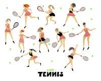 网球员女孩有球拍和球人的形象的集合妇女在行动徒手画的传染媒介例证 向量例证