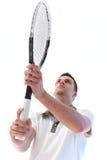 网球员等待的球 免版税库存照片