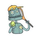 网球员蓝色机器人动画片被概述的例证激动逗人喜爱机器人和他的 向量例证