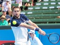 网球员马林Cilic为澳网做准备在Kooyong经典陈列比赛 免版税库存照片