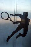网球员,剪影 免版税图库摄影