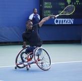 网球员从南非的卢卡斯Sithole在美国公开赛2013年轮椅方形字体期间选拔比赛 免版税图库摄影