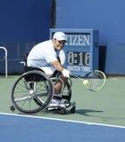 网球员从美国的大卫华格纳在他的美国公开赛2013年轮椅方形字体期间选拔比赛 免版税图库摄影