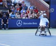网球员从美国的大卫华格纳在他的美国公开赛2013年轮椅方形字体期间选拔比赛 库存照片