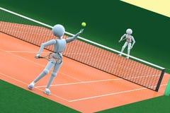 网球场的人们 向量例证