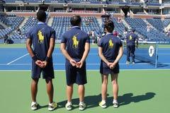 网球场的球人比利・简・金全国网球的集中 库存照片