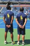 网球场的球人比利・简・金全国网球的集中 库存图片