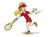 网球女孩体育球拍使用 免版税图库摄影