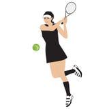 网球女运动员球球拍隔绝了白色背景传染媒介例证 免版税库存图片