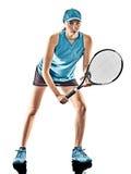 网球妇女被隔绝的剪影 图库摄影