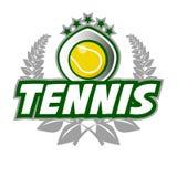 网球徽章与球的商标模板和月桂树缠绕 库存图片