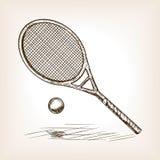 网球手拉的剪影样式传染媒介 库存照片
