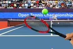 网球拍后面手摇摆 图库摄影