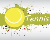 网球横幅 与五颜六色的飞溅的抽象绿色背景 库存图片