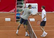 网球比赛-吉尔・西蒙对卢克斯Rosol 免版税库存图片