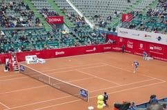 网球比赛-罗宾・哈塞对丹尼斯・伊斯托明 免版税库存照片
