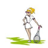 网球白人妇女 免版税库存图片