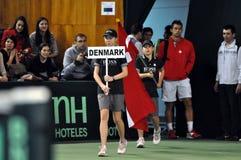 网球符合,丹麦的期初在操场进入 库存图片