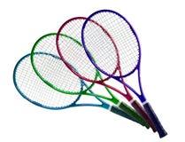 网球设备:在白色隔绝的五颜六色的球拍 库存图片