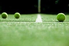 网球软的焦点在网球草地网球场的 免版税库存图片