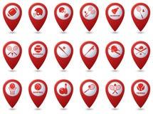 网球,棒球,在地图尖的橄榄球象 免版税库存图片