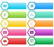 网的五颜六色的按钮与六角形 免版税图库摄影