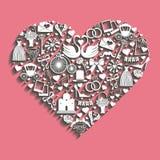 网的在心脏构成的婚礼Design.Icons和机动性 免版税库存图片