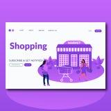 网的购物的市场平的样式传染媒介例证登陆的页 库存例证