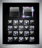 网的玻璃发光的按钮 库存图片